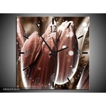 Wandklok op Canvas Tulp | Kleur: Bruin, Wit | F005029C