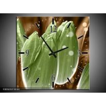 Wandklok op Canvas Tulp | Kleur: Groen, Bruin | F005031C