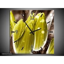 Wandklok op Canvas Tulp | Kleur: Geel, Grijs | F005032C