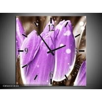 Wandklok op Canvas Tulp | Kleur: Paars, Grijs | F005033C
