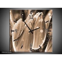 Wandklok op Canvas Tulp | Kleur: Grijs, Zwart | F005034C
