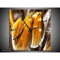 Wandklok op Canvas Tulp | Kleur: Oranje, Grijs | F005036C
