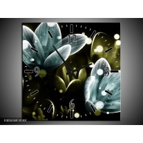 Wandklok op Canvas Krokus | Kleur: Blauw, Groen | F005038C