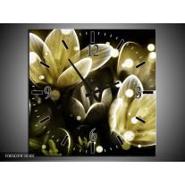 Wandklok op Canvas Bloem | Kleur: Geel, Groen | F005039C