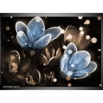 Foto canvas schilderij Bloem | Blauw, Grijs