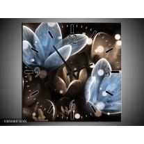 Wandklok op Canvas Bloem | Kleur: Blauw, Grijs | F005040C