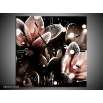 Wandklok op Canvas Bloem | Kleur: Rood, Grijs | F005041C