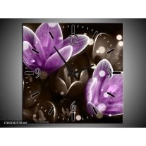 Wandklok op Canvas Bloem   Kleur: Paars, Grijs   F005042C