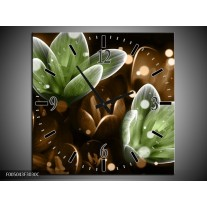 Wandklok op Canvas Bloem   Kleur: Groen, Bruin   F005043C