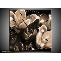 Wandklok op Canvas Bloem | Kleur: Grijs, Zwart | F005046C