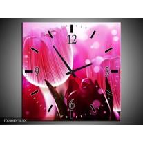 Wandklok op Canvas Tulp | Kleur: Roze, Wit, Grijs | F005049C