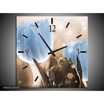 Wandklok op Canvas Tulp | Kleur: Blauw, Grijs | F005052C