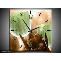 Wandklok op Canvas Tulp   Kleur: Groen, Bruin   F005055C