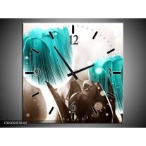 Wandklok op Canvas Tulp | Kleur: Blauw, Grijs | F005059C