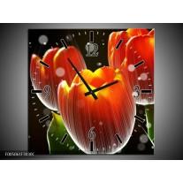 Wandklok op Canvas Tulp | Kleur: Rood, Geel, Zwart | F005061C