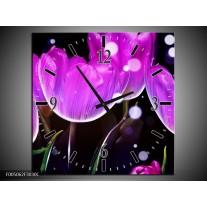Wandklok op Canvas Tulp | Kleur: Paars, Zwart | F005062C