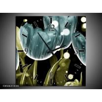 Wandklok op Canvas Tulp | Kleur: Blauw, Groen | F005063C