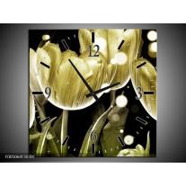 Wandklok op Canvas Tulp   Kleur: Goud, Zwart   F005064C