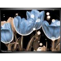 Foto canvas schilderij Tulp | Blauw, Grijs, Zwart