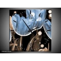Wandklok op Canvas Tulp | Kleur: Blauw, Grijs, Zwart | F005065C