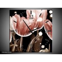 Wandklok op Canvas Tulp | Kleur: Bruin, Zwart | F005066C