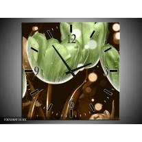 Wandklok op Canvas Tulp | Kleur: Groen, Bruin | F005068C