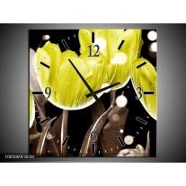 Wandklok op Canvas Tulp | Kleur: Geel, Grijs | F005069C
