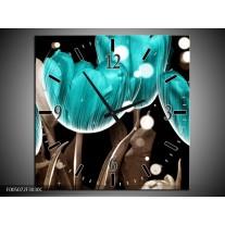 Wandklok op Canvas Tulp | Kleur: Blauw, Grijs | F005072C