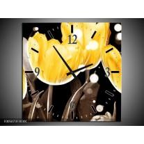 Wandklok op Canvas Tulp | Kleur: Geel, Grijs | F005073C
