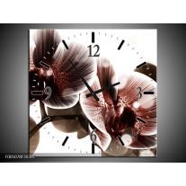 Wandklok op Canvas Orchidee | Kleur: Bruin, Wit | F005078C