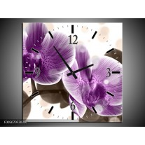 Wandklok op Canvas Orchidee | Kleur: Paars, Wit | F005079C