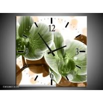 Wandklok op Canvas Orchidee | Kleur: Groen, Bruin | F005080C
