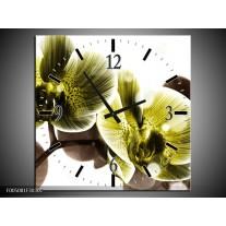Wandklok op Canvas Orchidee   Kleur: Geel, Grijs   F005081C