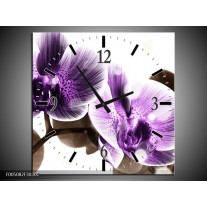 Wandklok op Canvas Orchidee | Kleur: Paars, Grijs | F005082C