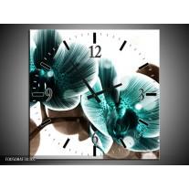 Wandklok op Canvas Orchidee | Kleur: Groen, Wit | F005084C