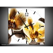 Wandklok op Canvas Orchidee | Kleur: Geel, Bruin, Wit | F005085C