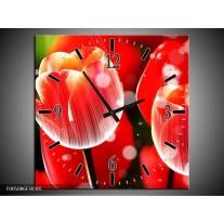 Wandklok op Canvas Tulp | Kleur: Rood, Wit | F005086C