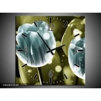 Wandklok op Canvas Tulp | Kleur: Blauw, Groen | F005087C