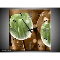 Wandklok op Canvas Tulp | Kleur: Groen, Bruin | F005092C