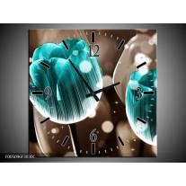 Wandklok op Canvas Tulp | Kleur: Blauw, Grijs | F005096C