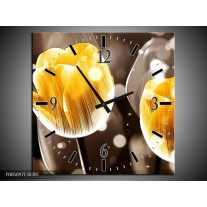 Wandklok op Canvas Tulp | Kleur: Geel, Oranje, Bruin | F005097C