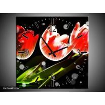 Wandklok op Canvas Tulp | Kleur: Rood, Groen, Zwart | F005098C