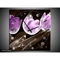 Wandklok op Canvas Tulp | Kleur: Paars, Grijs | F005103C