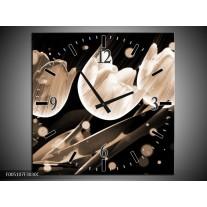 Wandklok op Canvas Tulp | Kleur: Wit, Zwart, Grijs | F005107C