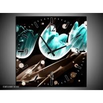 Wandklok op Canvas Tulp | Kleur: Blauw, Zwart | F005108C