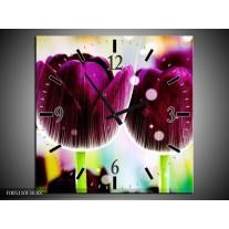 Wandklok op Canvas Tulp | Kleur: Paars, Geel, | F005110C