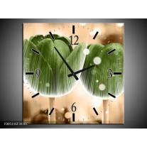 Wandklok op Canvas Tulp | Kleur: Groen, Bruin | F005116C