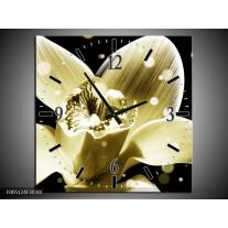 Wandklok op Canvas Iris | Kleur: Geel, Zwart | F005124C