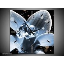 Wandklok op Canvas Iris | Kleur: Blauw, Zwart | F005125C