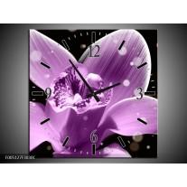Wandklok op Canvas Iris   Kleur: Paars, Zwart   F005127C